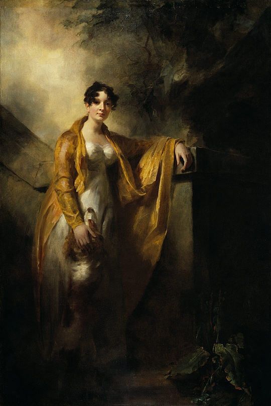 Justina Camilla Wynne,Mrs Alexander Finally of Glencorse This portrait dates from around 1810, when Justine Wynne married the handsome Alexander Finlay of Glencorse, Midlothian. Raeburn painted her on his grandest scale, accompanied by a dog, the symbol of marital fidelity. This portrait was probably painted in Raeburn's new custom built studio in York Place in Edinburgh, which had a complex set of adjustable window shutters that allowed him to direct the fall of natural light on to his…