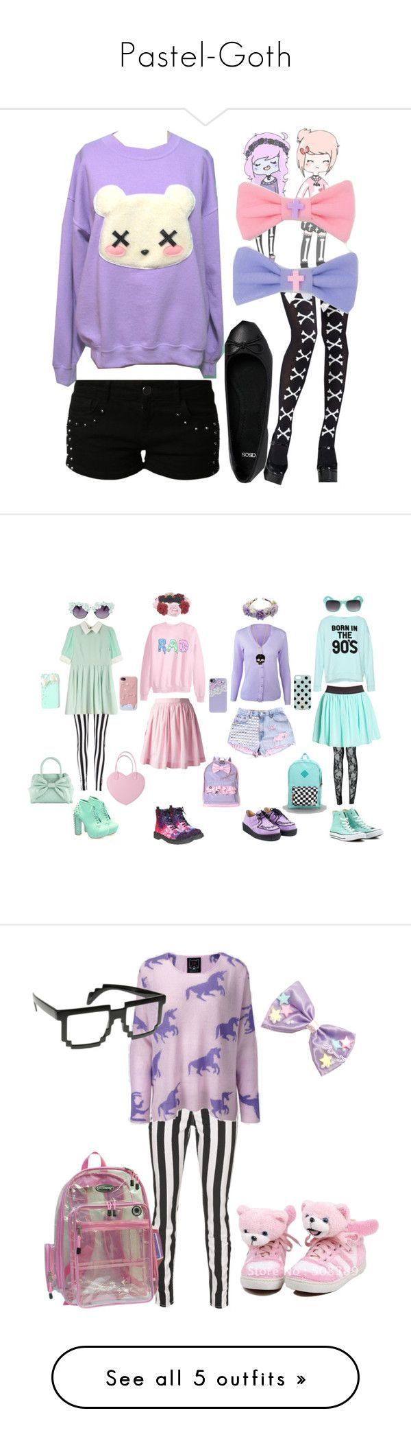 """""""Pastel-Goth"""" by gaara406 ❤️ liked on Polyvore featuring even&odd, ASOS, claire's, Gasoline Glamour, Boohoo, Wet Seal, Labour of Love, Forever 21, Pull&Bear and Converse"""