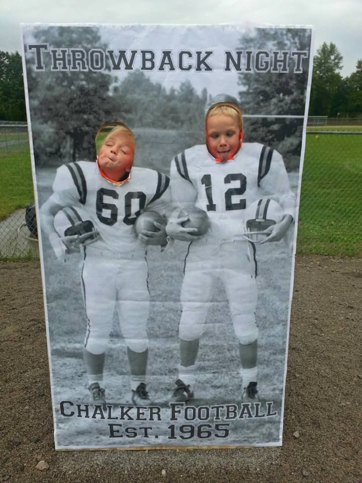Throwback night for high school football game! blow up an old photo and throw on…