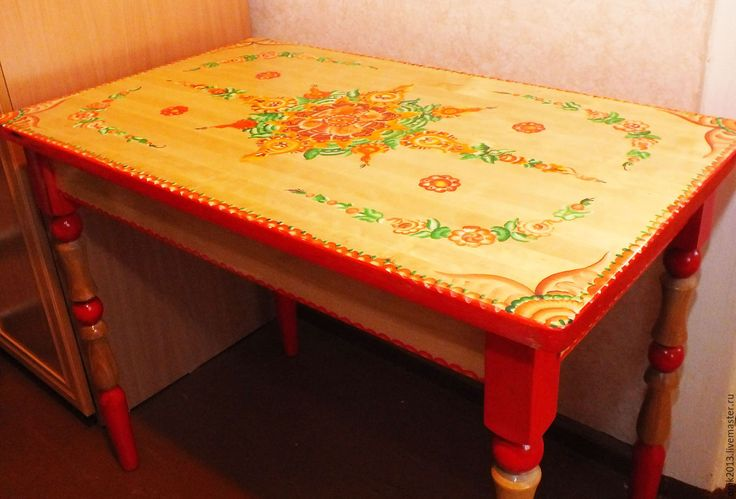 Купить Стол в русском стиле. Урало сибирская роспись - ярко-красный, стол