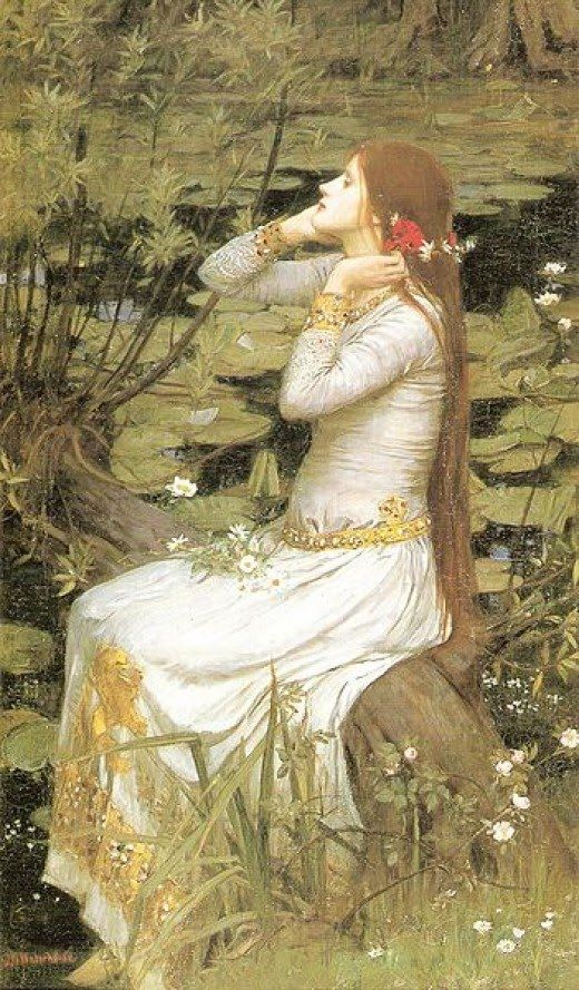 Ophelia by Sir John Everett Millais (1829 -1896),  an English painter and illustrator and one of the founders of the Pre-Raphaelite Brotherhood. There is a willow grows aslant the brook...