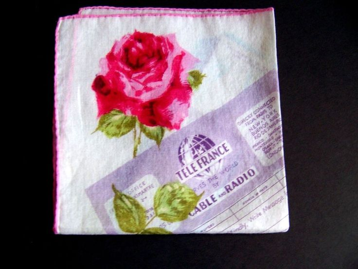Red Roses Vintage Tele France Telegram Cablegram Handkerchief Love Wedding EUC #Unbranded #Novelty #Wedding