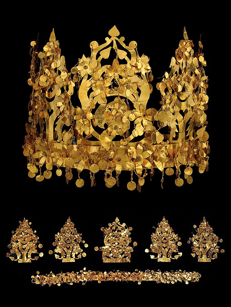 Bactrian Gold Crown, c. 100 AD. This crown shows a significant connection between the Greeks and Han Chinese, as well as the Central Asian and Scytho-Siberian nomads, when it comes to the gold crown from Tillya-Tepe in Bactria. It was found in the tomb of a nomadic Saka woman. A plethora of round gold pendants adorns the band and ornaments, which come off easily so they can be packed away. http://barbaraanneshaircombblog.com/2014/05/15/the-gold-crowns-of-mycenae-bactria-and-silla/