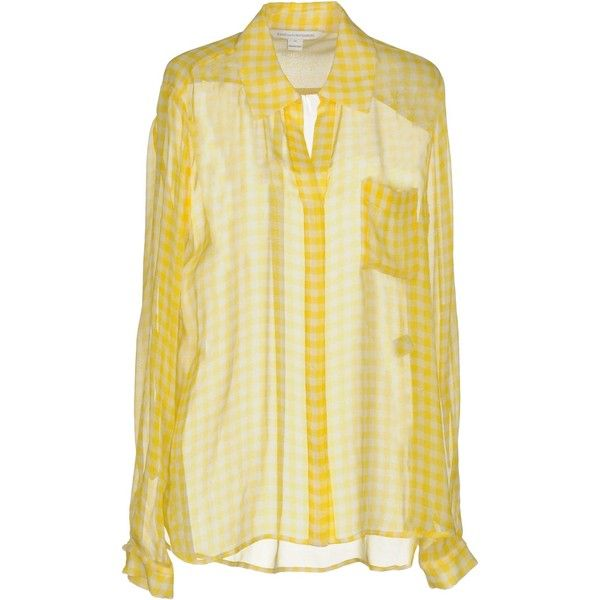 Diane Von Furstenberg Shirt ($146) ❤ liked on Polyvore featuring tops, yellow, extra long sleeve shirts, beige long sleeve top, beige shirt, long sleeve shirts and yellow long sleeve top
