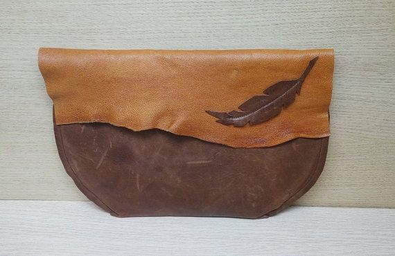 Feather Leather Tan Brown Bag, Elf Fairy Leather Bag, Leather Feather Antique Brown Bag, Feather Leather Twotone Clutch, Boho Feather Clutch