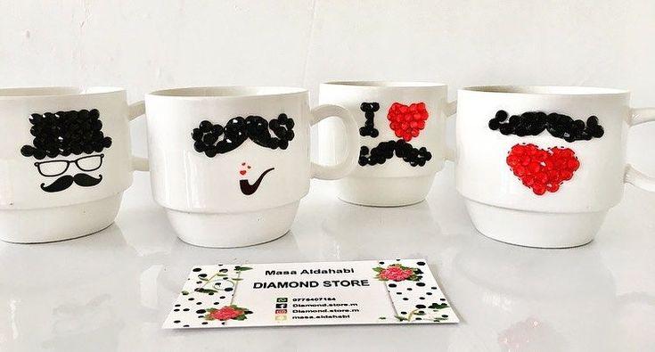 سعر المج ٢ ٥ د Diamond Store Diamond Store M Online Onlins Store Handmade Strass Crystal Mug Fashion Luxurious Design Red Black White Drink Amman Jordan