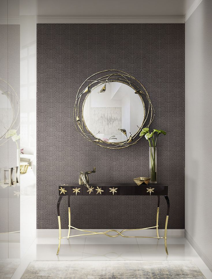 Stella Wall Mirror by Koket | Luridae Console table combines perfectly with the Stella Wall Mirror — both pieces by Koket. While the console looks elegant with a unique design, Stella is a fashion mirror with an uncommon design presenting a flawless mirror glass and an exotic floral frame. Find more here: http://www.bykoket.com/guilty-pleasures/casegoods/stella-mirror.php
