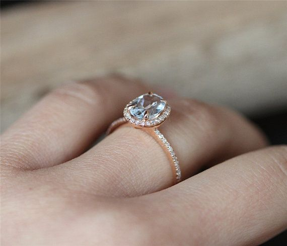VS 68mm Oval Cut Aquamarine Ring Stackable Ring 14K Rose Gold