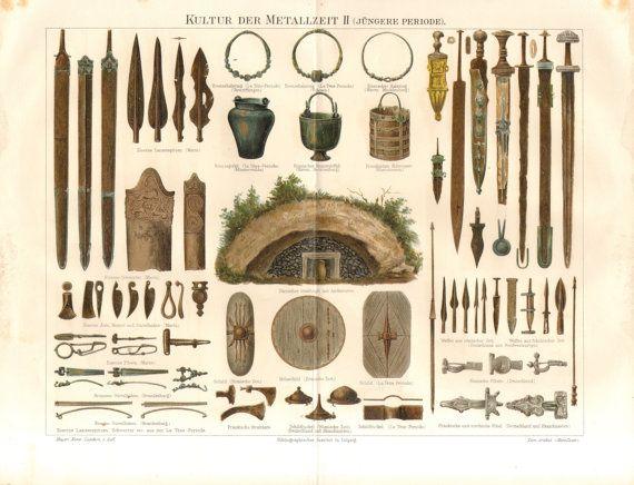 1896 armi, utensili, gioielli e dimore della romana e cultura di La Tène e periodo - età del ferro e del bronzo antico Cromolitografia