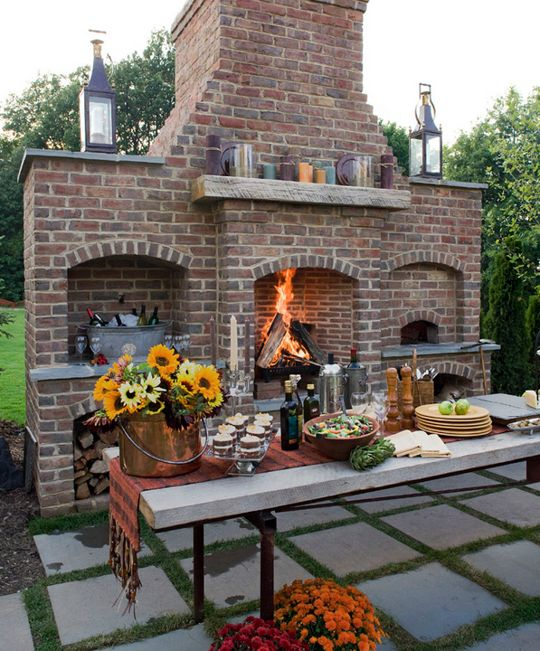 Backyard Pizza Ovens - But in this case, I want this to be my next indoor fireplace / oven contraption thingy. gorgeous.
