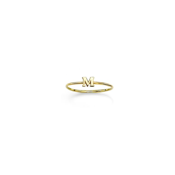 14k Gold Initial Ring- This suavely designed ring embraces the bliss of simple elegance, and it will help you retain your own unique personality with a special touch: your own initial as the core of the design. Enjoy this beautiful 14k gold earring and make it yours, with the initial of your name.