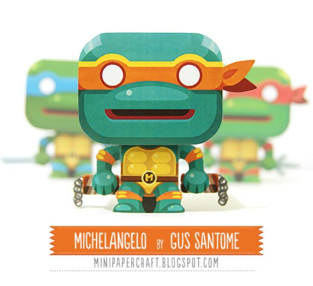 Blog Paper Toy papertoy Michelangelo pic Mini papertoy Michelangelo (Tortues Ninja)
