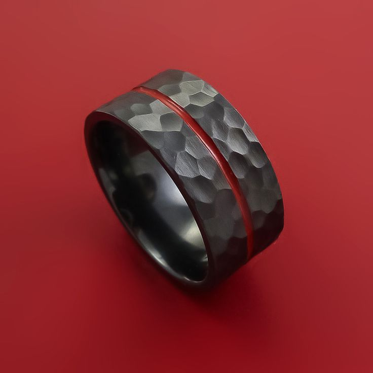 Black Zirconium Hammer Finish Ring Modern Style Band with Red Center I – Stonebrook Jewelry