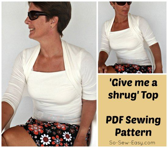 Interesting top to sew with a built in collar that looks like you're wearing a shrug over the top.