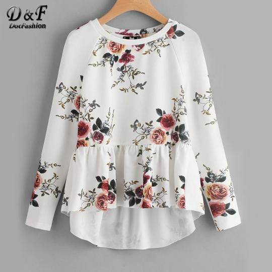 Dotfashion Raglan Sleeve Ruffle Dip Hem Tunic Blouse White Round Neck Floral Top 2017 Women Long Sleeve High Low Blouse
