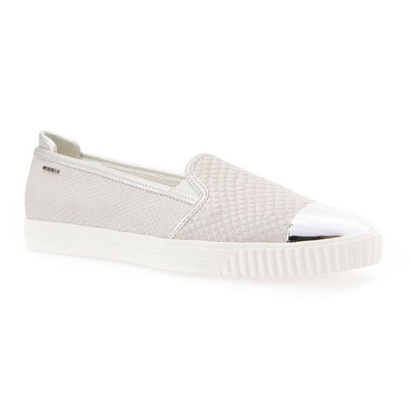 Geox Amalthia (510 RON) ❤ liked on Polyvore featuring shoes, off white and silver, slip on, geox, pull on shoes, off white shoes, geox footwear and geox shoes