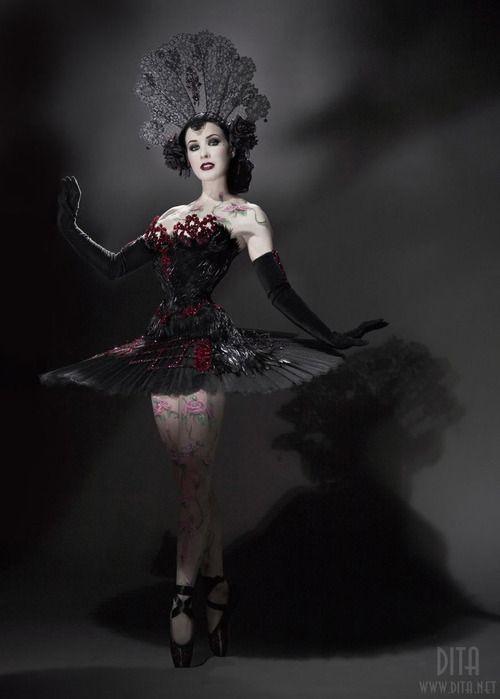steelboneddiva:    Dita Von Teese is a Black Swan Goddess
