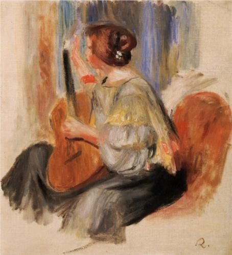 Woman with Guitar - Pierre-Auguste Renoir