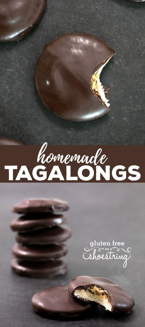 Gluten free Tagalongs cookies are a simple shortbread cookie topped with peanut butter and covered in chocolate. The Girl Scouts may make a few gluten free cookies, but they don't make these! #glutenfree #girlscoutcookies #peanutbutter