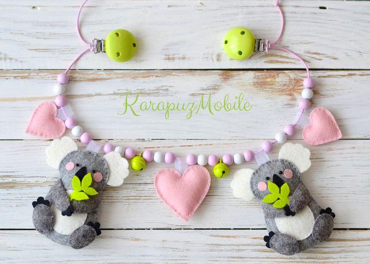 """Kinderwagenkette """"Koala mit Herzen"""" von KarapuzMobile auf DaWanda.com"""