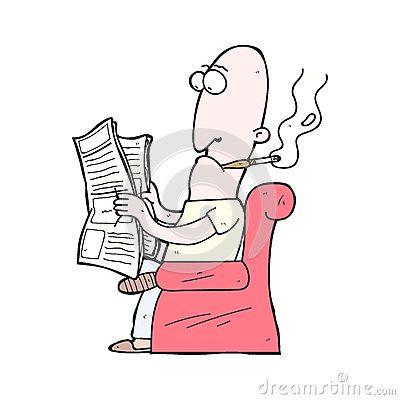 Illustration cartoon man reading newspaper