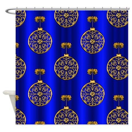 Gold Christmas Baubles Shower Curtain on CafePress.com