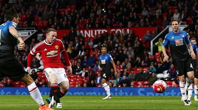Rooney score's 100th Old Trafford goal against Bournemouth FC. totalsportek.com