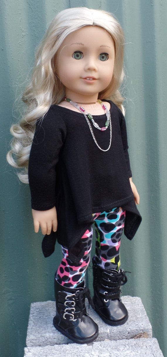 American Girl Doll clothes separates: black twirly tunic top with patterned leggings and accessories