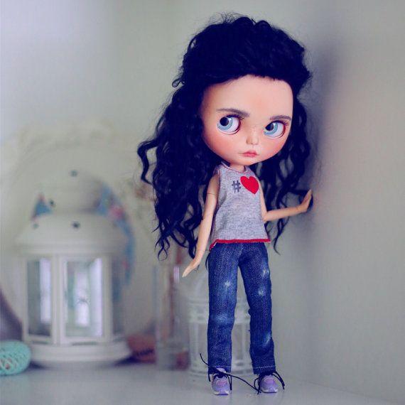 Jeans-Denim-Hosen für Ooak  Blythe Puppe