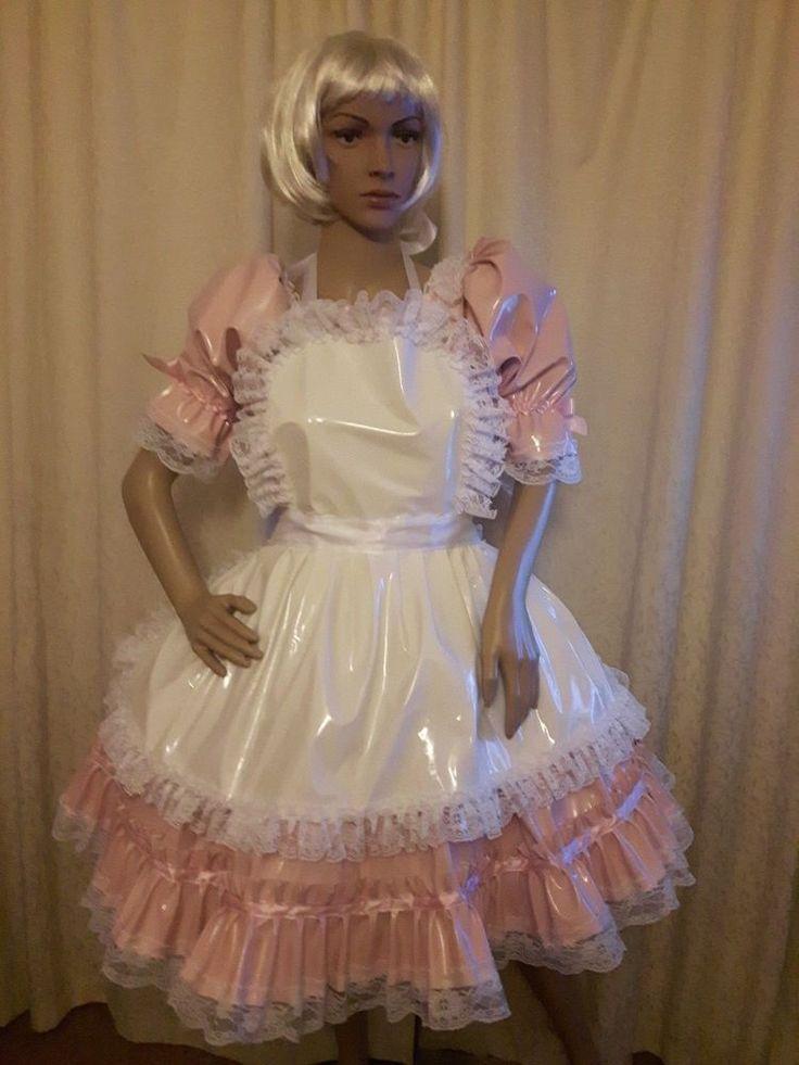 Sissy Soft Shiny Pale Pink PVC Dress and White PVC Apron  | eBay