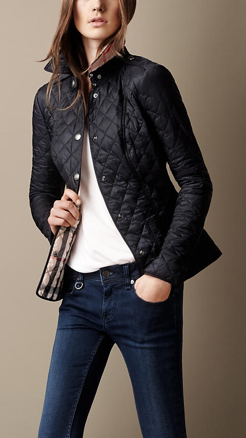 Cropped Quilted Jacket Burberry Color Ink Size M Fall Season