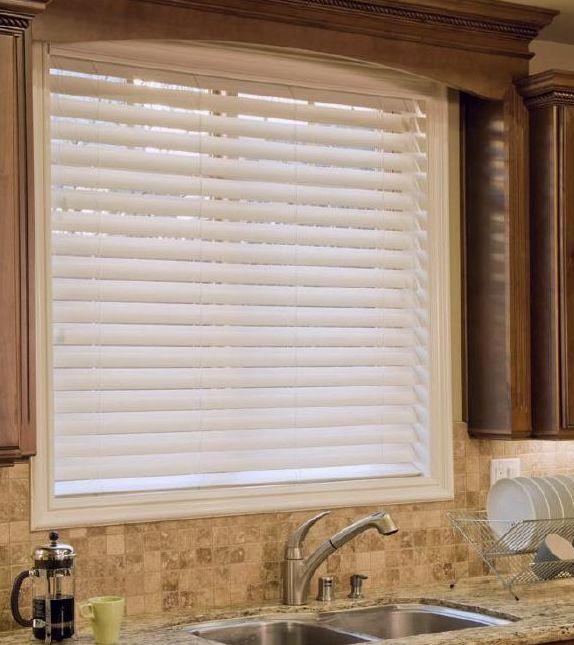 Faux Wood SmartPrivacy™ PremiumDiscount Blinds, Blinds Treatments, Limestone Backsplash, Faux Wood Blinds, Kitchens Backsplash, Fauxwood Blinds, Windows Treatments, Silk White, Windows Shades