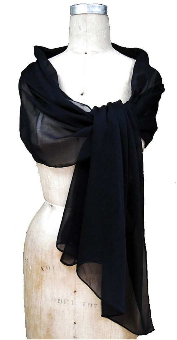 Black shawl for evening dress