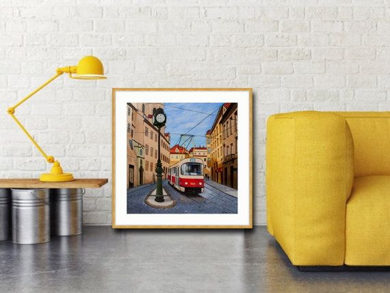 Prague Tram Art Print Cityscape Print Prague Tram by MaritimArt
