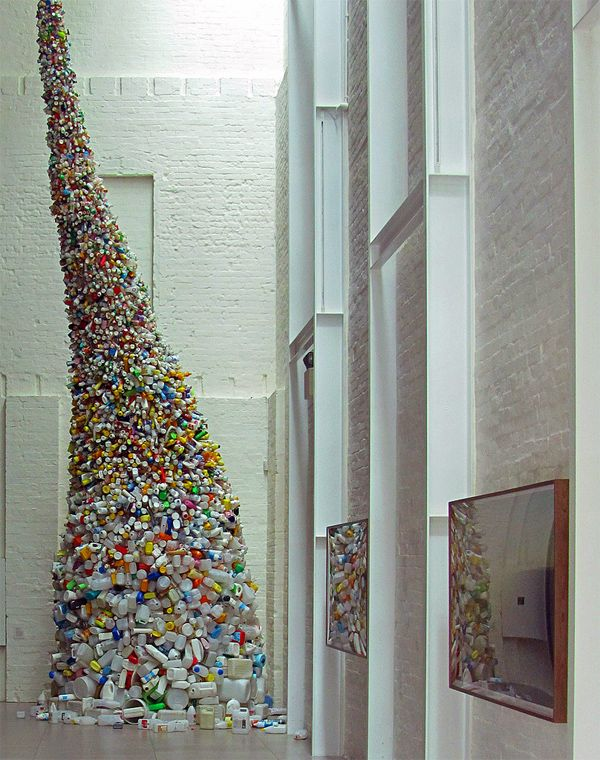 Garbage Art: Thrown to the Wind is a 36-foot tall (11-meter) tornado of plastic garbage by Wang Zhiyuan who lives and works in Beijing. More