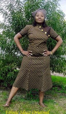 Shweshwe dress. Love the button detail
