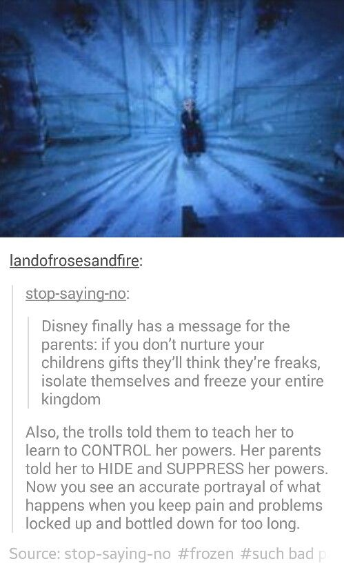 Okay, I totally get where everybody's going with this, but I'm not sure I agree 100%. My favorite explanation is this idea that they were trying to get her to control it by ignoring it, whereas she took it to mean that she needed to consciously suppress it. That said, I bounce back and forth. I think maybe it's some of both...