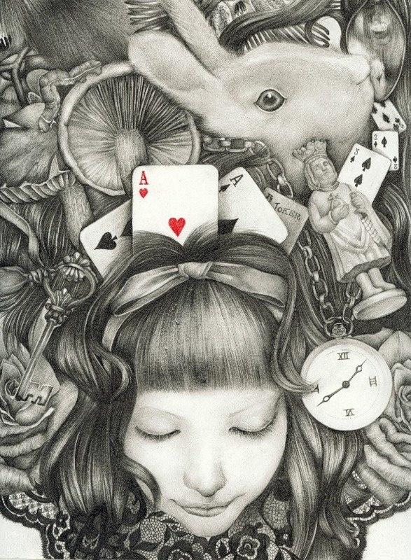 Maria sonhou:  Era Alice no País das Maravilhas    ...Onde...  a rotina era a loucura  o absurdo era o possível  o nonsense o bom senso  o lógico era o mágico.  ...Ao despertar...  Seus dilemas viraram lindos poemas.      Texto: Libertária  Imagem: Kaori Ogawa