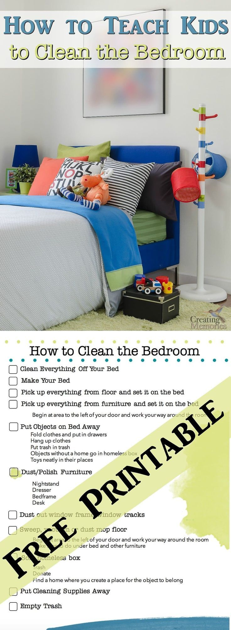 "Do you have a child that struggles when you say ""go clean your room""? Is it a nightmare to just get a clean room? Use this free step By Step Bedroom Cleaning Checklist and chore chart Printable to help teach your child to clean a bedroom, The second article in our Teach Kids to Clean series."