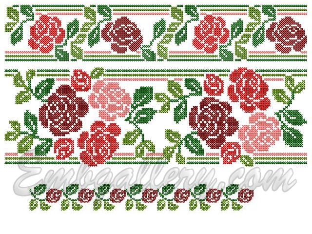 """""""Roses and Buds""""_Corner   Machine embroidery design"""