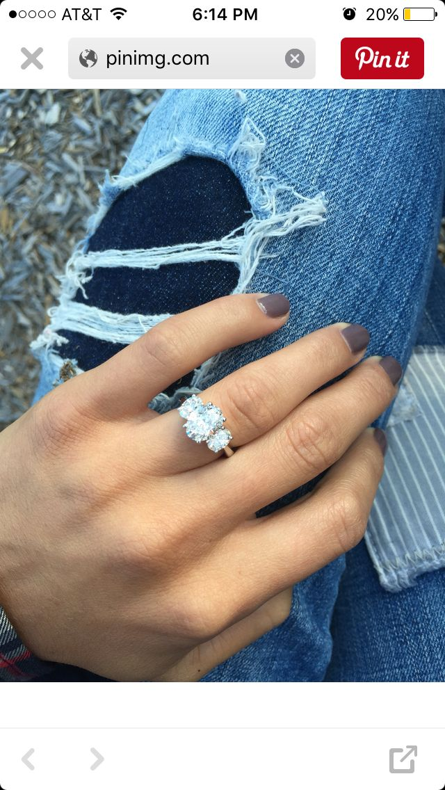 3 stone oval engagement rings? - Weddingbee                                                                                                                                                      More