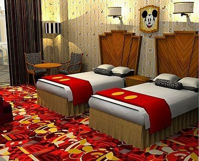 Mickey Mouse room at the Tokyo Disney Ambassador Hote. Cute! Disney Hotel rooms…
