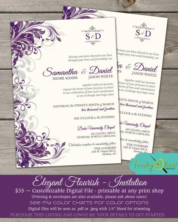 Purple & Gray Flourish Wedding Invitation Shower by TheFunkyOlive, $35.00