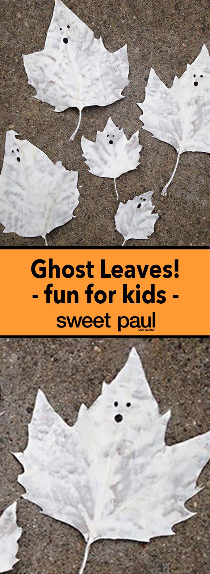 The most BOO-tiful halloween craft project! Autumn leaves painted white and then you draw a cute ghost face with a marker!