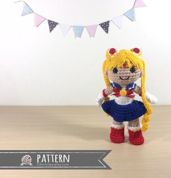 Sailor Moon Amigurumi Crochet Doll Pattern by 53Stitches on Etsy