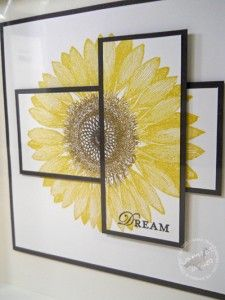 handmade decorative stamping ... giant sunflower on black matted criss crossed paneld ... mod look with realistic flower stamp ... would also be a great card ... Stampin' Up!