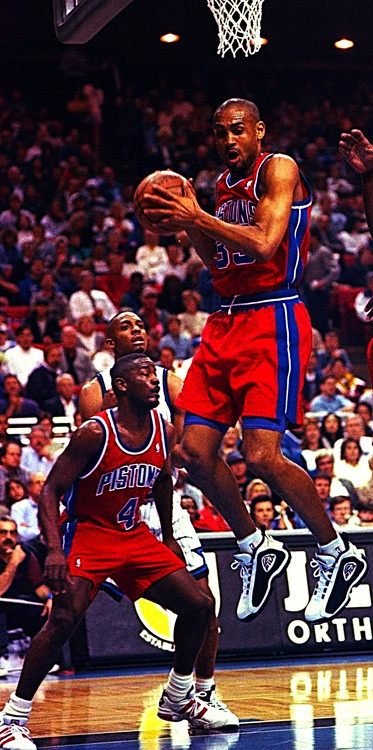 Grant Hill and Joe Dumars of the Pistons and Anfernee Hardaway of the Orlando Magic.