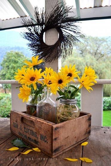 Vintage crate and mason jar vases for a sunny Black-Eyed Susan set up!