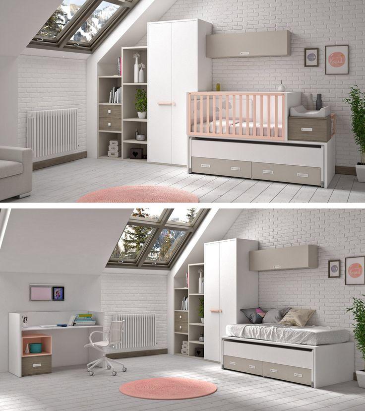 Dormitorio infantil con cuna convertible. Cuenta con una cama auxiliar y grandes cajones.