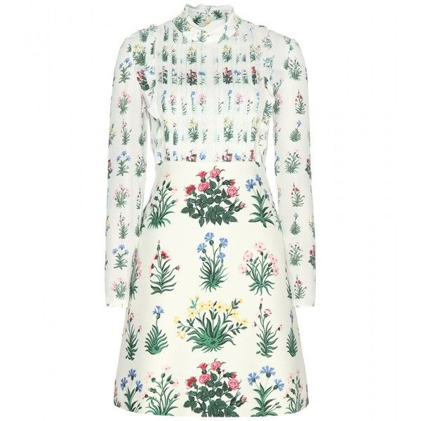 Valentino Printed Silk Dress ($2,930) ❤ liked on Polyvore featuring dresses, vestidos, white, silk dress, white dress, valentino dresses and white silk dress